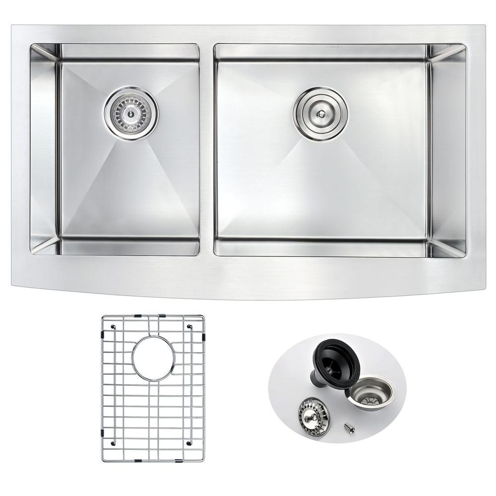 ELYSIAN Series Farmhouse Stainless Steel 33 in. 0-Hole Double Basin Kitchen