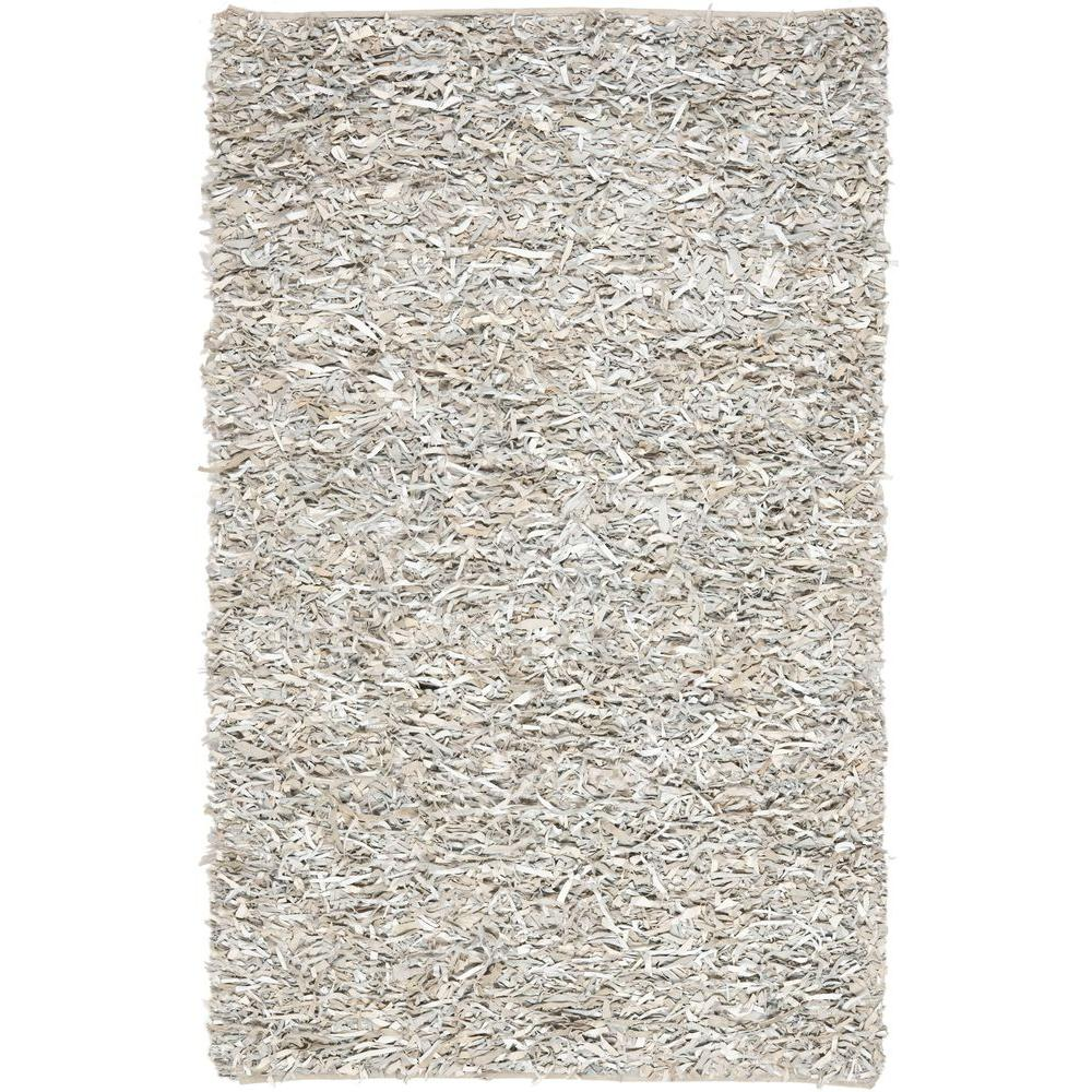 Safavieh Indoor/Outdoor Area Rug: Safavieh Rugs Leather Shag White 5 ft. x 8 ft. LSG511C-5