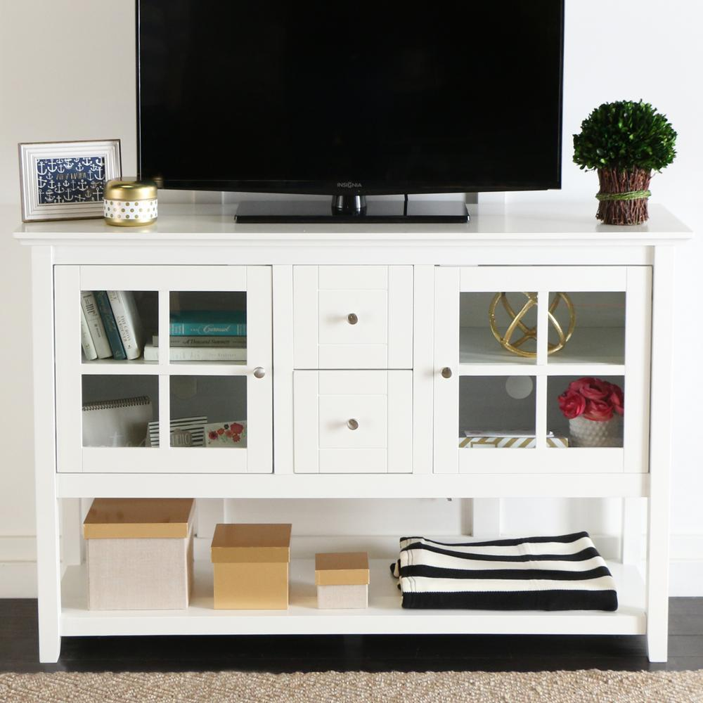 Walker Edison Furniture Company White Buffet With Storage Hd52c4ctwh The Home Depot