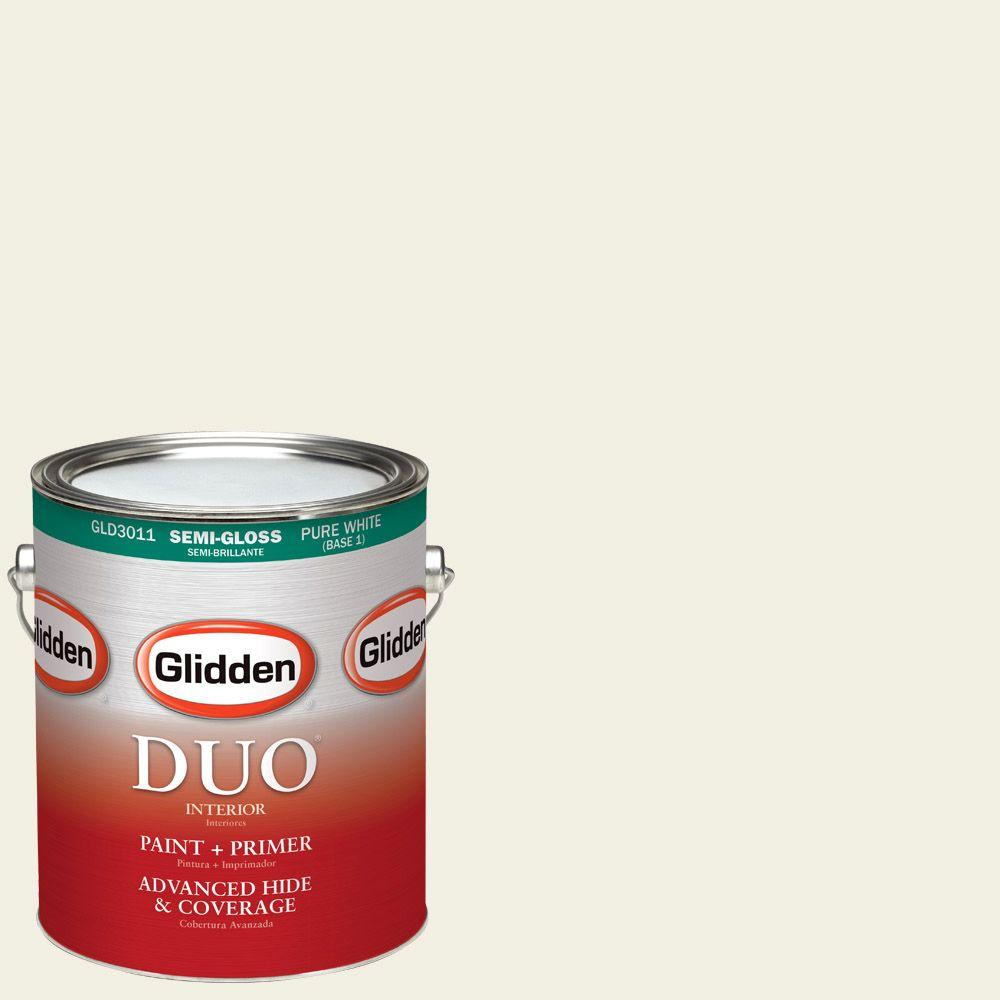 Glidden DUO 1-gal. #HDGY43U Floral White Semi-Gloss Latex Interior Paint with