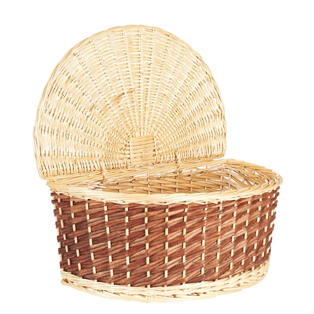 Household Essentials Half-moon Wicker Basket with Lid-ML-2235 - The Home Depot