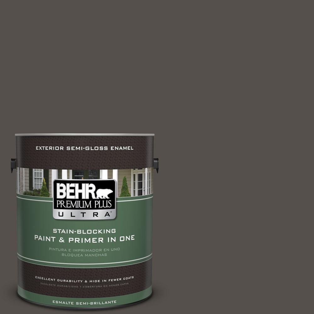 1-gal. #790D-7 Black Bean Semi-Gloss Enamel Exterior Paint