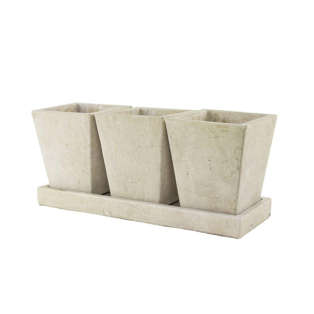 Syndicate Trio Garden Cement Planter with Tray-7909-02-901 - The Home Depot