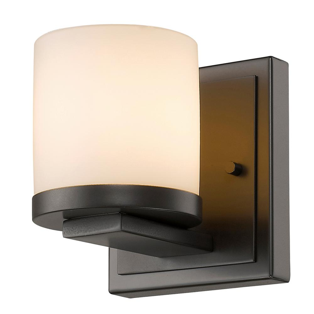 1-Light Bronze LED Wall Sconce