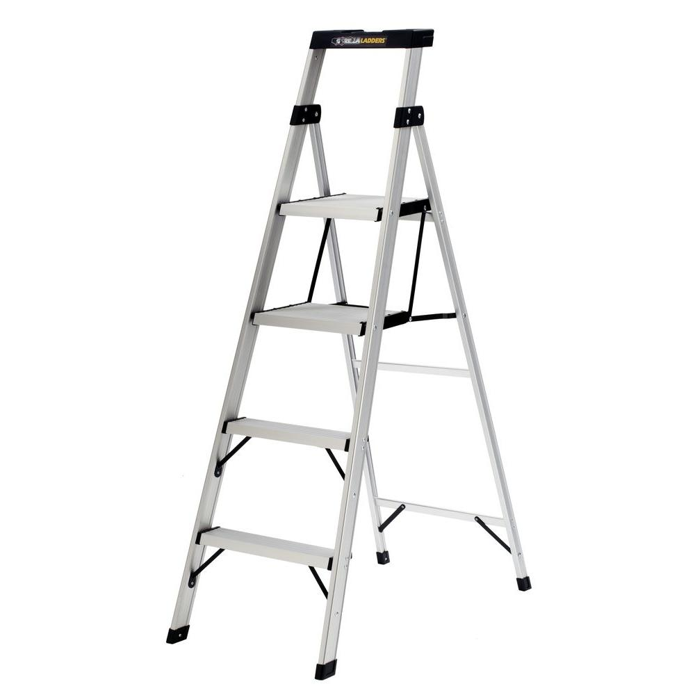 Step Ladders: Gorilla Ladders Building Materials 5.5 ft. Aluminum Crossover Step Ladder with 250 lb. Load Capacity Type I Duty Rating ACX-4