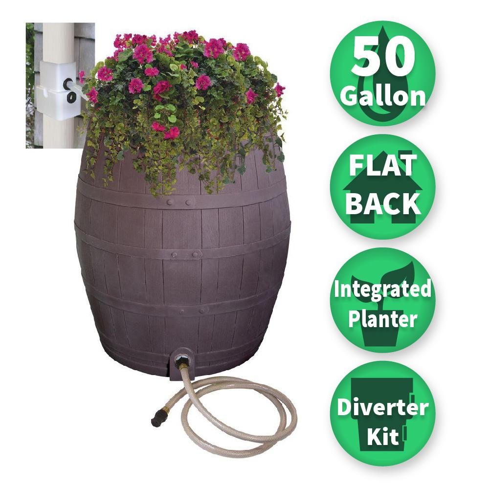 RESCUE 50 gallon Solid Brown Flat Back Whiskey Rain Barrel with Integrated Planter and Diverter System