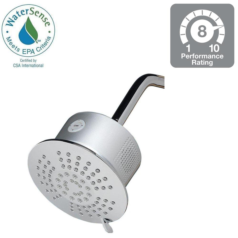 Home Netwerks 5-Spray 6 in. Showerhead and Stereo Speaker in Chrome (Grey)