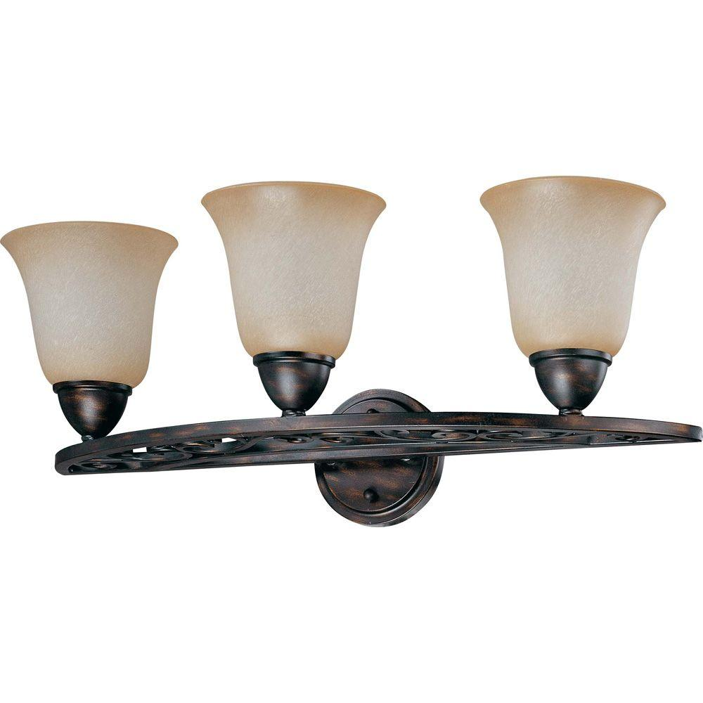 Glomar Pickford Distressed Bronze 3 Light Vanity With Brushed Wheat Glass-DISCONTINUED