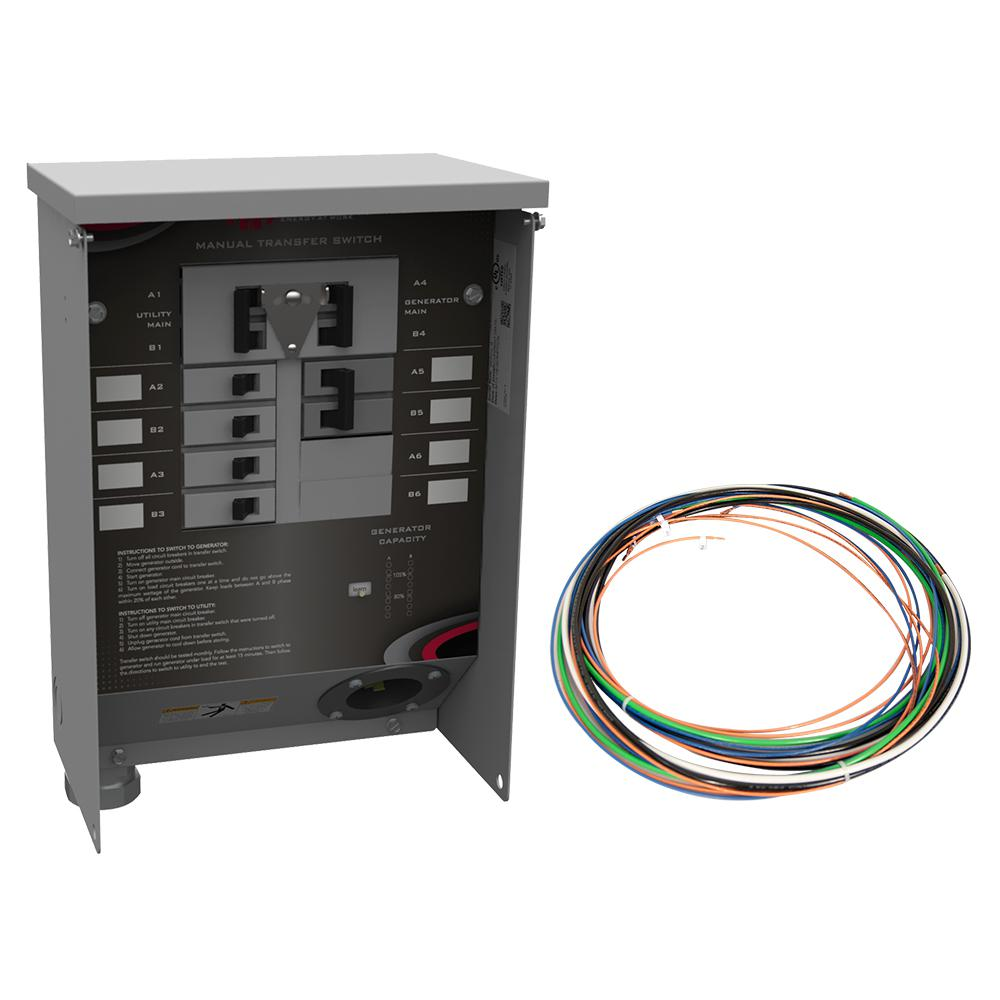 50 Amp Manual Transfer Switch with Lean Function, LED Digital Meter