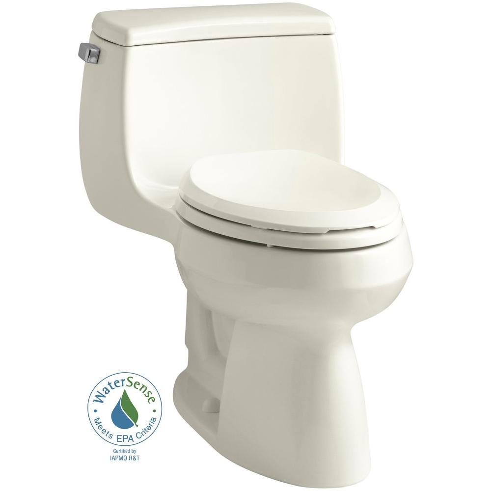 KOHLER Gabrielle Comfort Height 1-Piece 1.28 GPF Single Flush Elongated Toilet with AquaPiston Flushing Technology in Biscuit