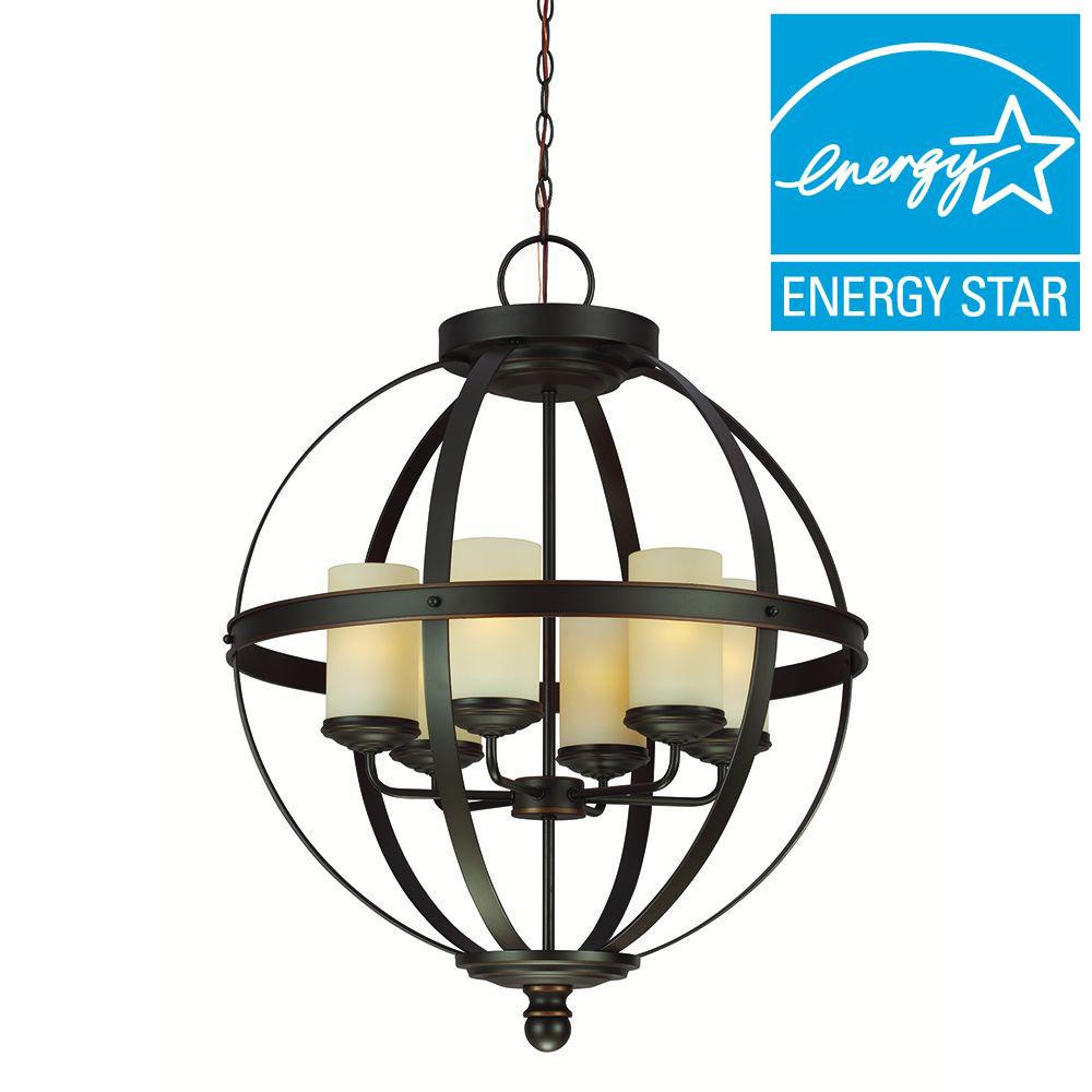 Sea Gull Lighting Sfera 6-Light Autumn Bronze Fluorescent Chandelier with Cafe Tint Glass