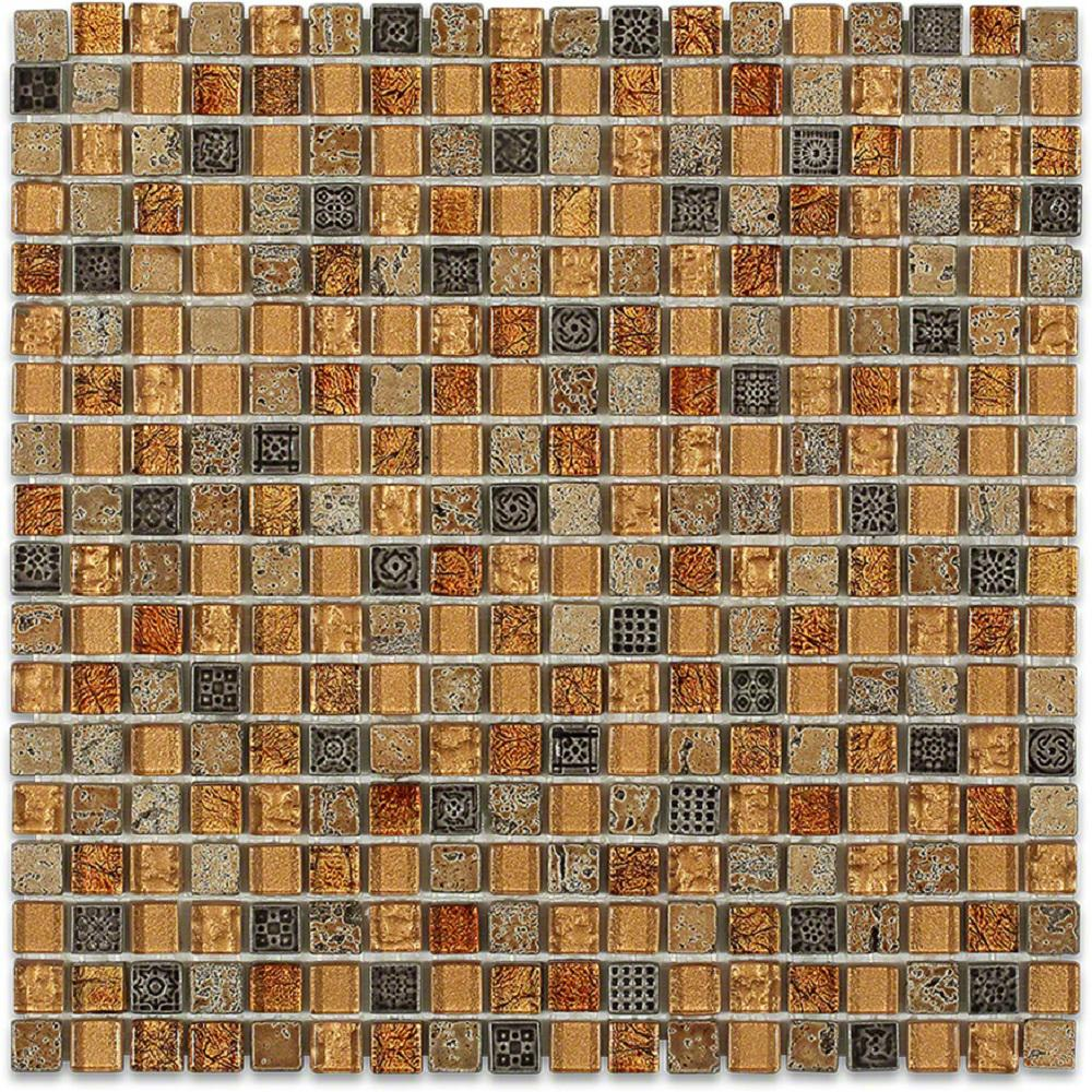 Splashback Tile Aztec Art Golden Halo 12 in. x 12 in. x 8 mm Glass Floor and Wall Tile