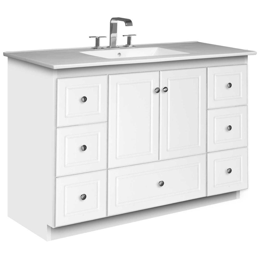 Simplicity by Strasser Ultraline 49 in. W x 22 in. D x 35 in. H Vanity in Satin White with Ceramic Vanity Top in White