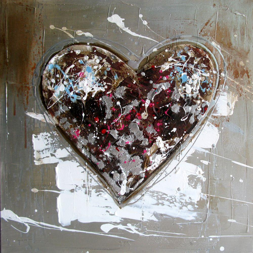Yosemite Home Decor 24 in. x 24 in. Color Heart Hand Painted Contemporary Artwork
