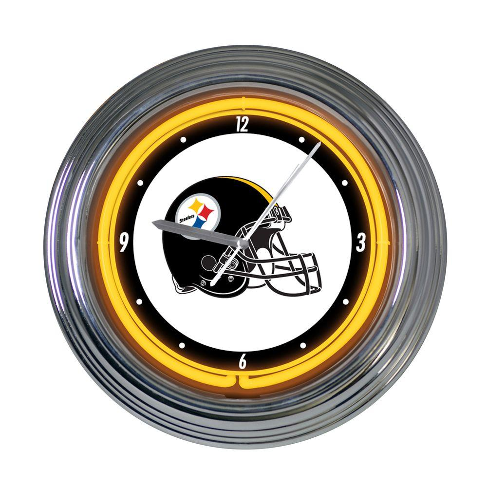 The Memory Company 15 in. NFL License Pittsburgh Steelers Neon Wall Clock-DISCONTINUED