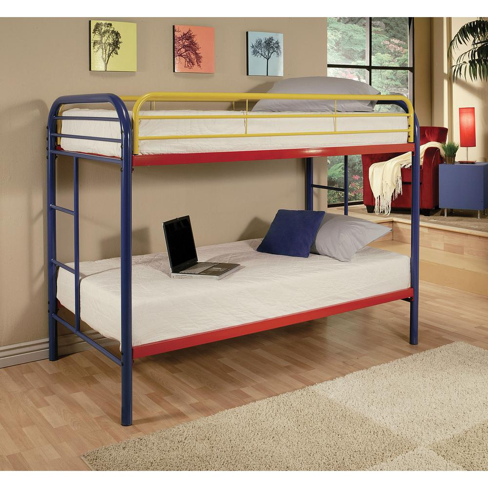 Acme Furniture Thomas Rainbow Twin Over Twin Metal Bunk Bed-02188RNB -