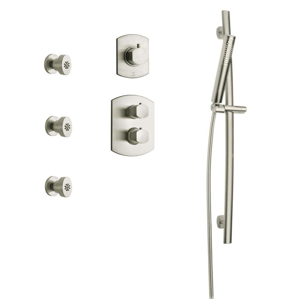 LaToscana Novello Combination 6 2-Handle 1-Spray Shower Faucet with Hand Shower in Brushed Nickel