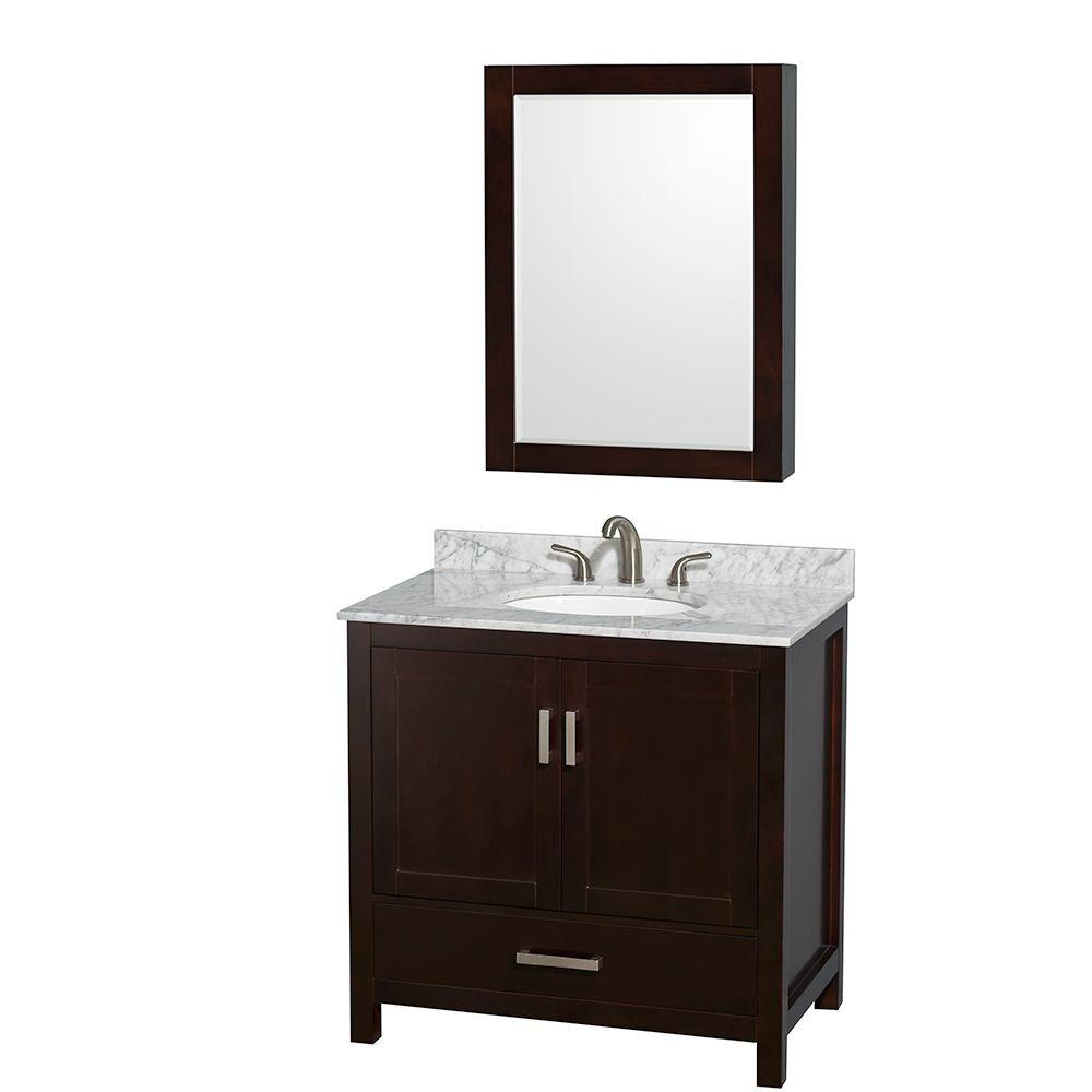 Wyndham Collection Sheffield 36 in. Vanity in Espresso with Marble Vanity
