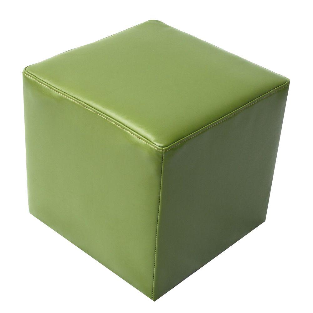 Elegant Home Fashions Green 17 in. W x 17 in. D x 16 in. H Leather Cube Ottoman-DISCONTINUED