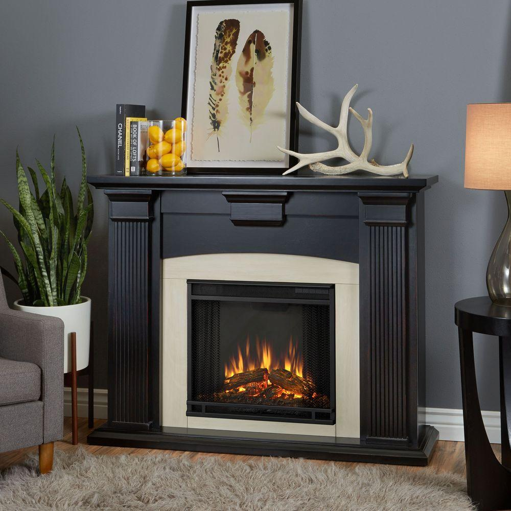 Real Flame Adelaide 51 in. Electric Fireplace in Blackwash-7920E-BW - The