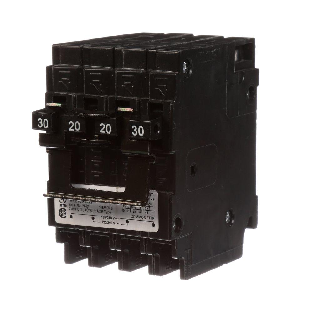Siemens Quadplex One Outer 20 Amp Double-Pole and One Inner 30