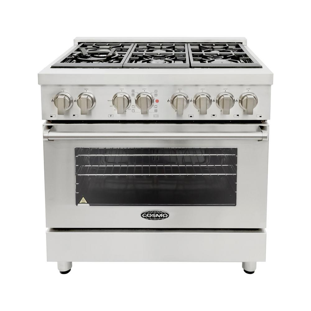 36 in. 4.5 cu. ft. Single Oven Dual Fuel Range with