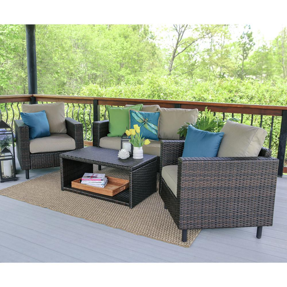 This Review Is From:Draper 4 Piece Wicker Patio Conversation Set With Tan  Cushions