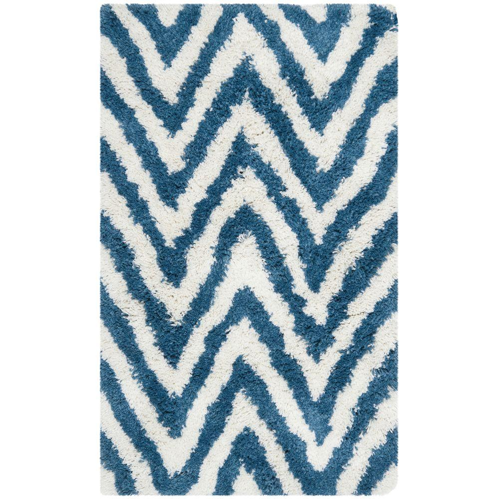Chevron Shag Ivory/Blue 2 ft. 6 in. x 4 ft. Area