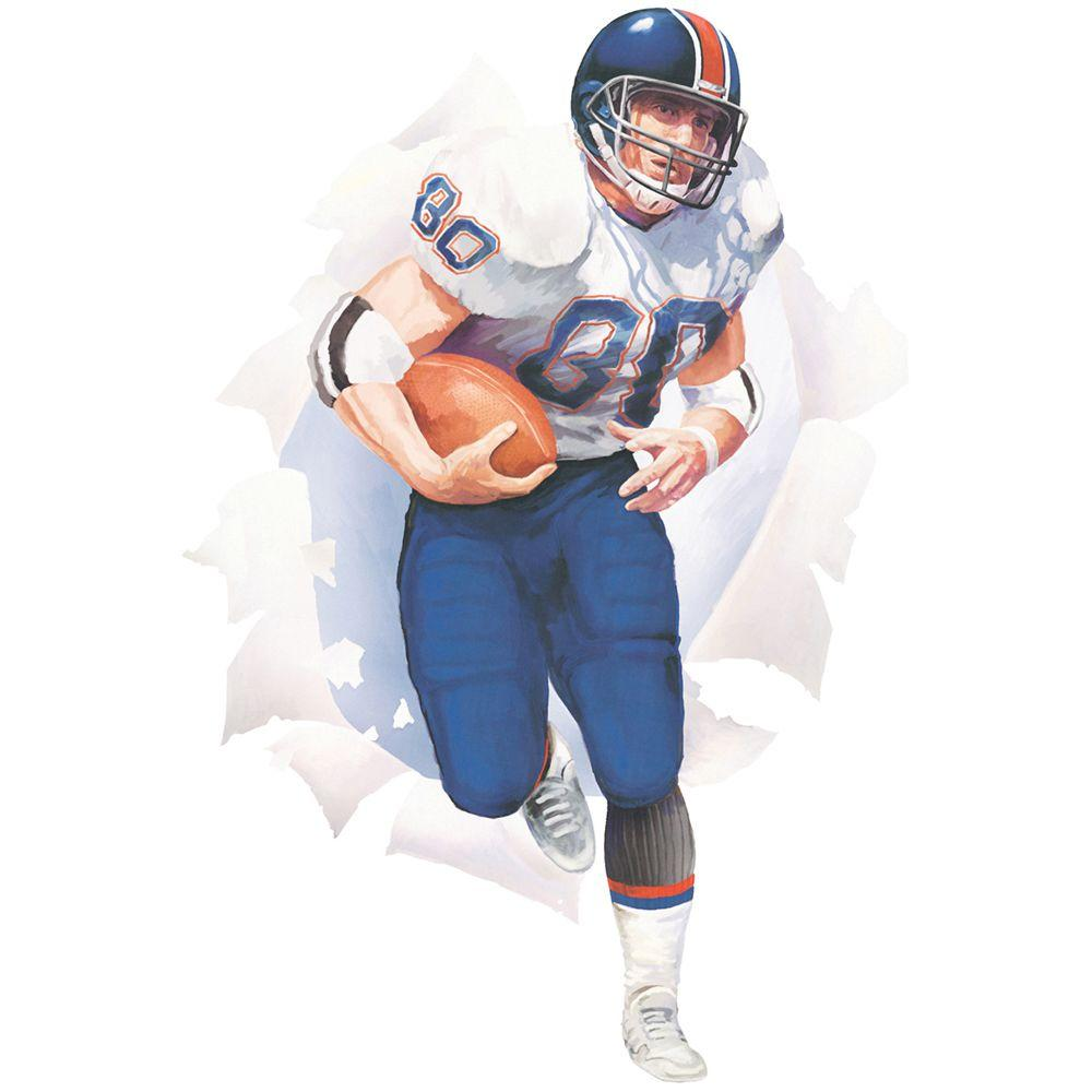 The Wallpaper Company 18.5 in. x 27 in. Blue And White Football Player Break Out-DISCONTINUED