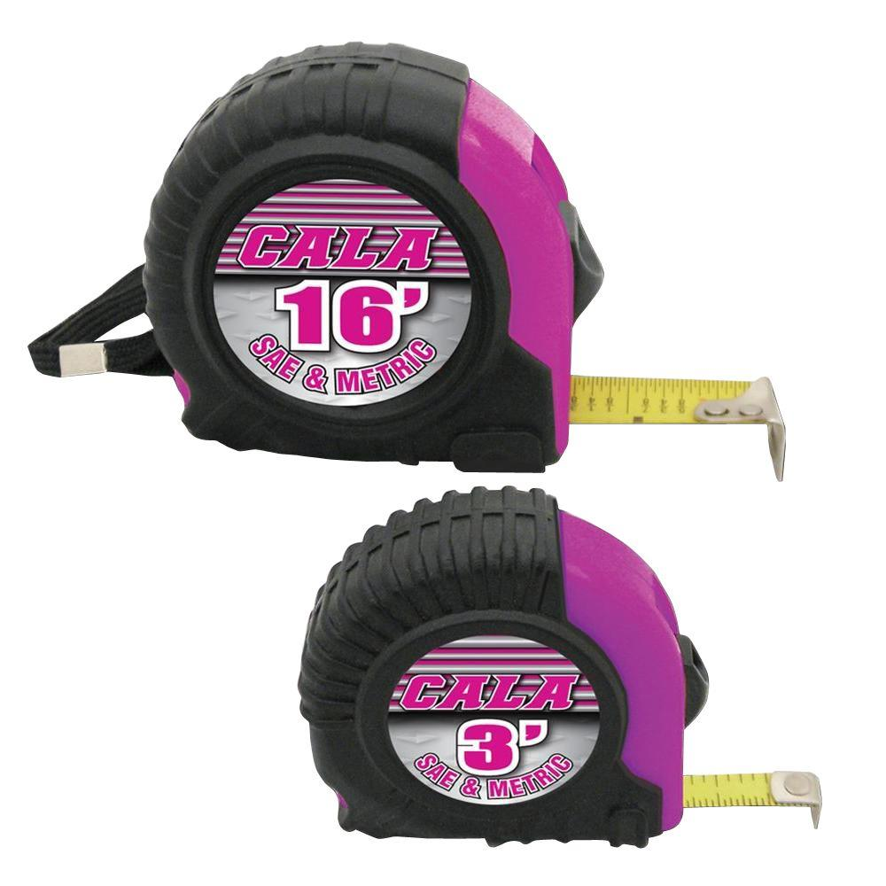 Cala Tools 16 ft. Tape Measure Set in Pink (2-Piece)