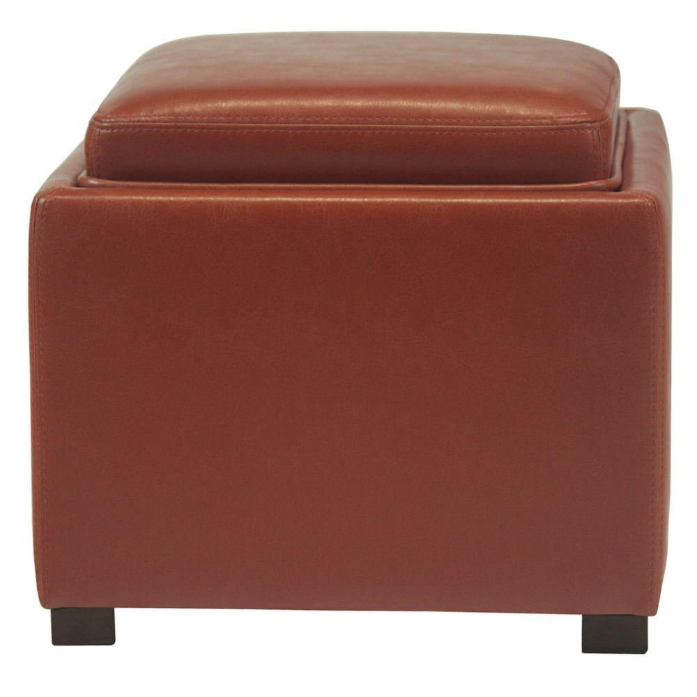 Elegant Home Fashions Curry Color Tray Bonded Leather Storage Cube Ottoman-DISCONTINUED