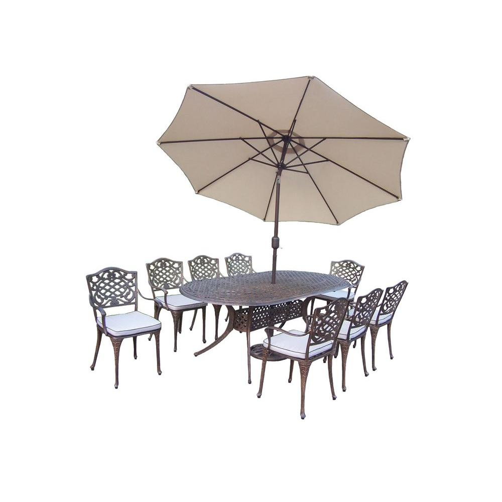 Oakland Living Mississippi 9-Piece Oval Patio Dining Set with Cushions and 2-Piece Patio Umbrella Set