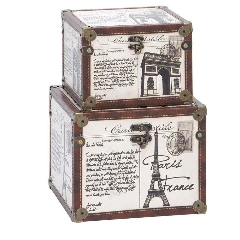 Home Decorators Collection La France 10 in. x 8 in. White Wood and Leather Box (Set of 2)