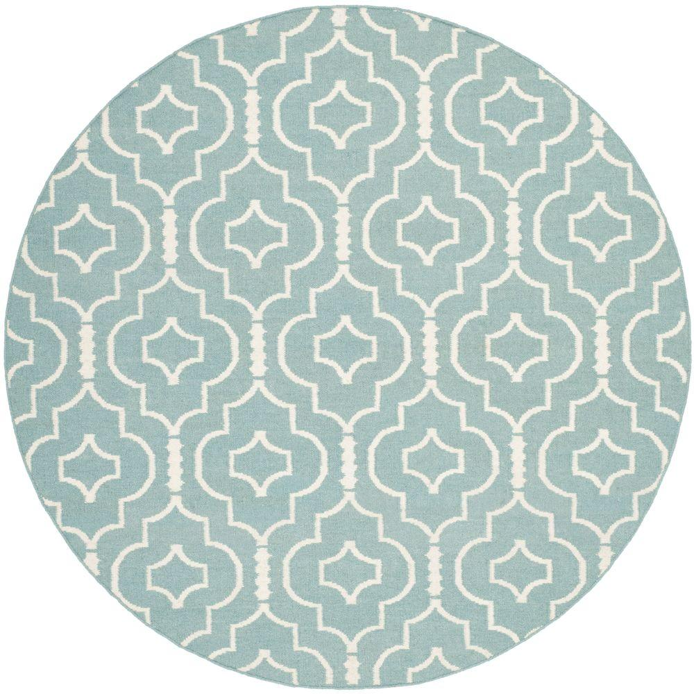 Safavieh Dhurries Light Blue/Ivory 6 ft. x 6 ft. Round Area