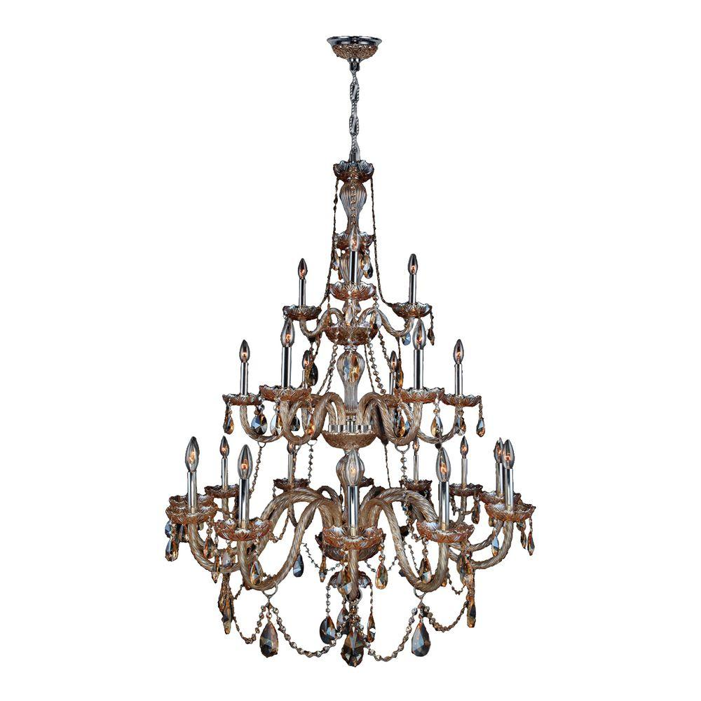 Worldwide Lighting Provence Collection 21-Light Chrome Amber Crystal Chandelier