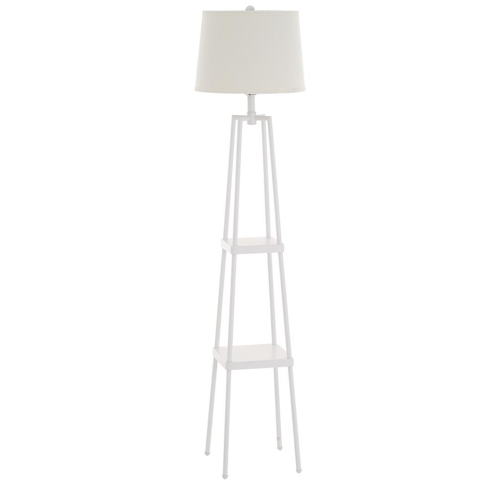 58 in. White Etagere Floor Lamp with Linen Shade