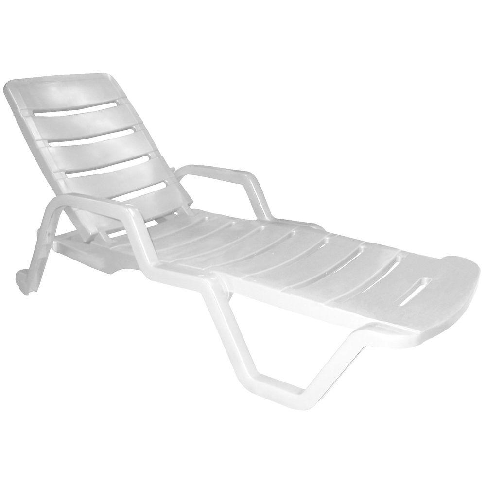 Outdoor lounge furniture for patio the home depot for Adams white chaise lounge