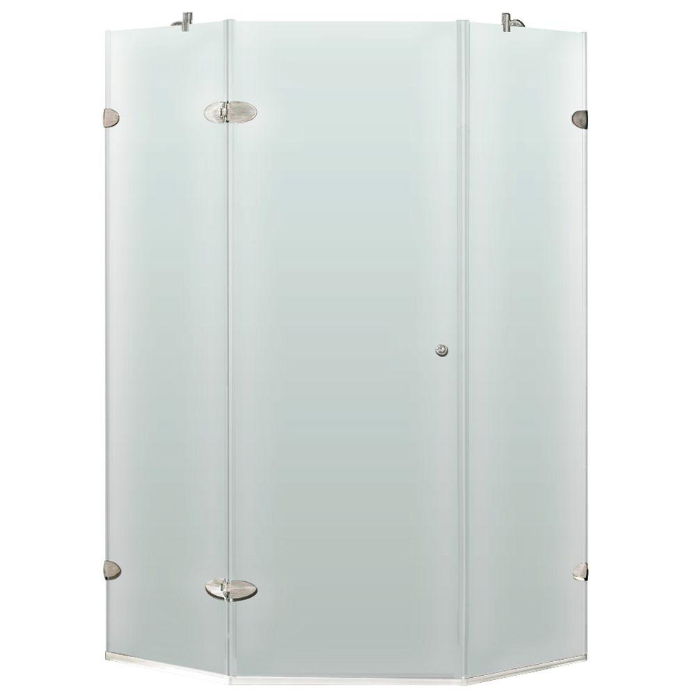 Vigo 38 in. x 73 in. Frameless Neo-Angle Shower Enclosure in Brushed Nickel with Frosted Glass