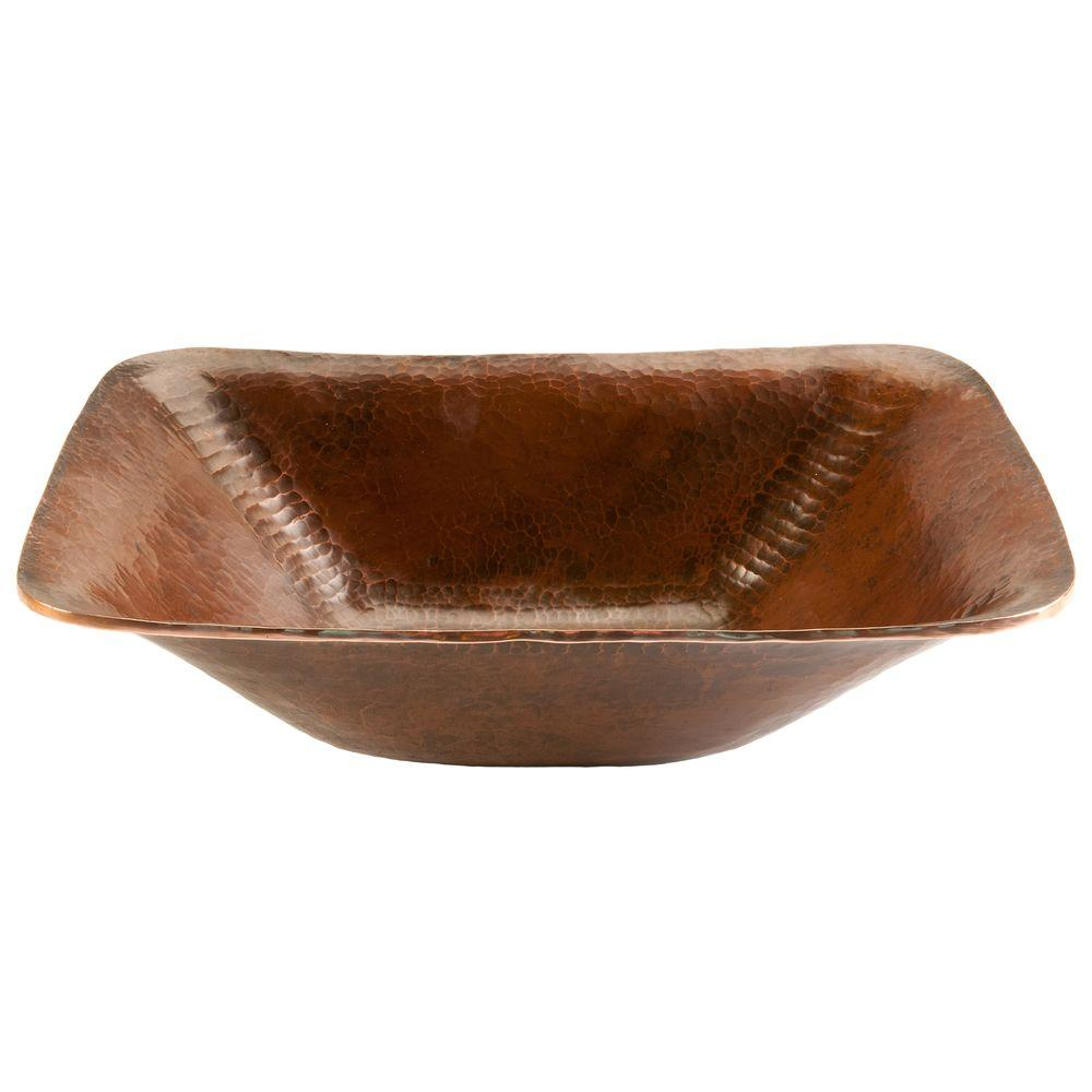 Rectangle Hand Forged Old World Copper Vessel Sink in Oil Rubbed