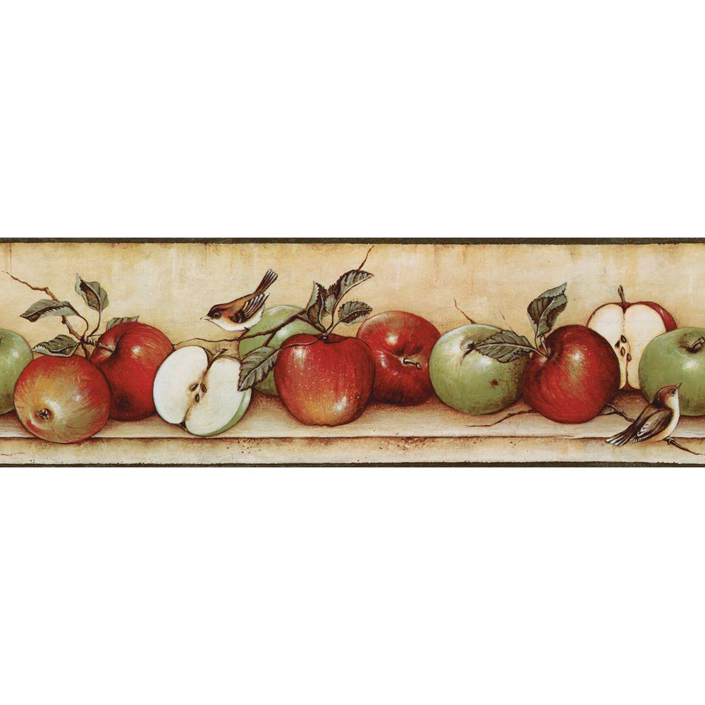 The Wallpaper Company 6.83 in. x 15 ft. Red and Green Apples and Birds Border