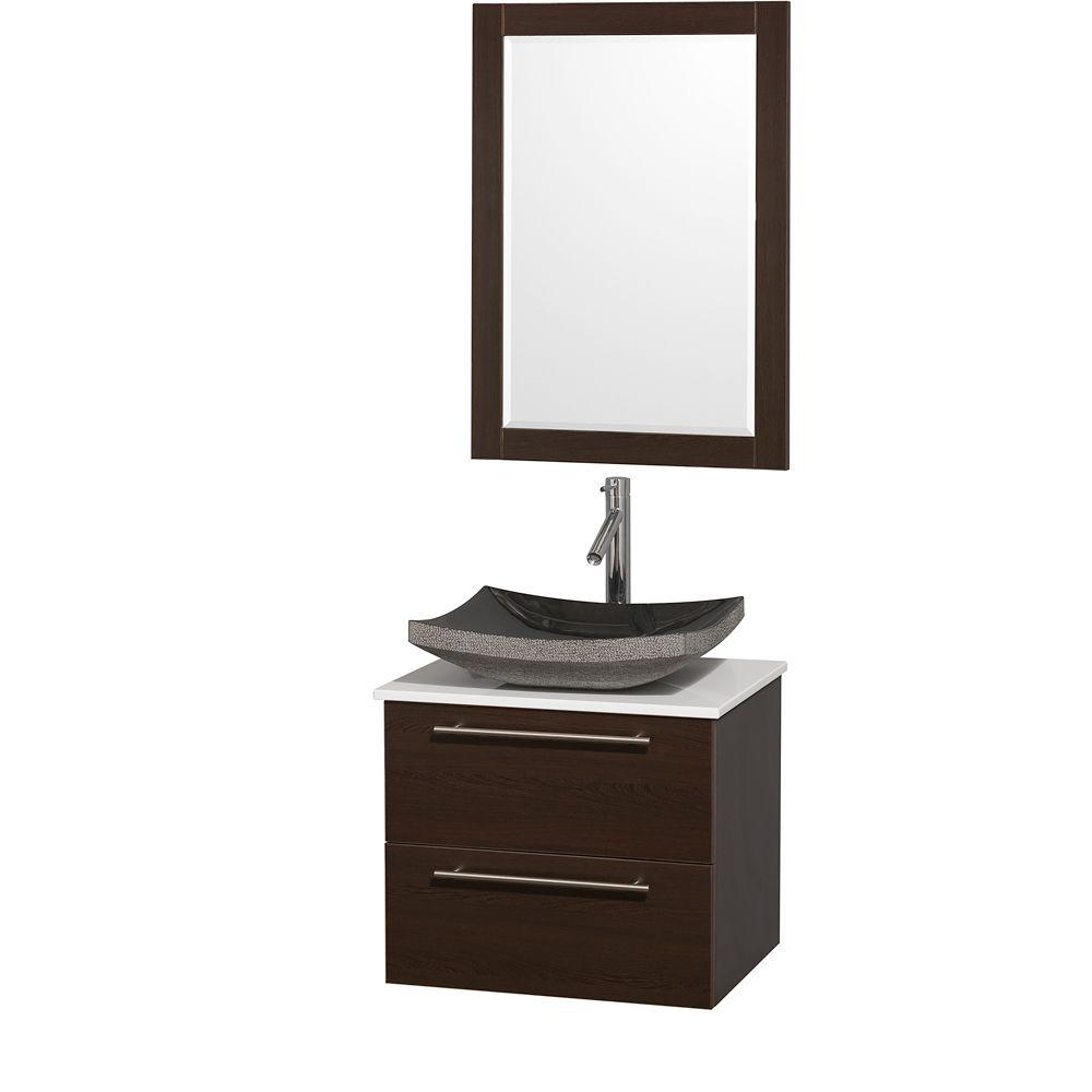 Amare 24 in. Vanity in Espresso with White Man-Made Stone Vanity
