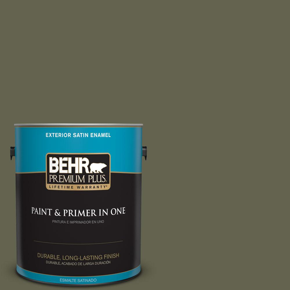 1-gal. #N350-7 Russian Olive Satin Enamel Exterior Paint