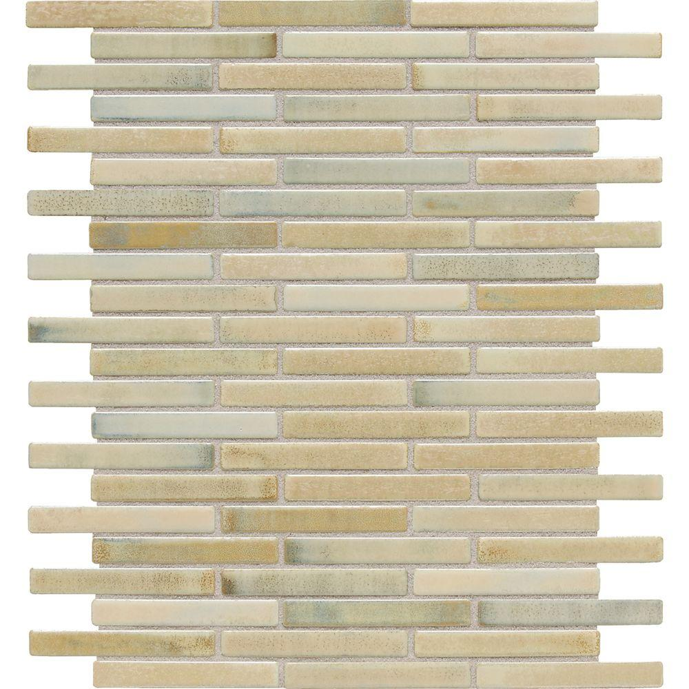 Daltile Fashion Accents Illumini Sand (Brown) 12 in. x 12 in. x 8 mm Random Porcelain Mosaic Wall Tile