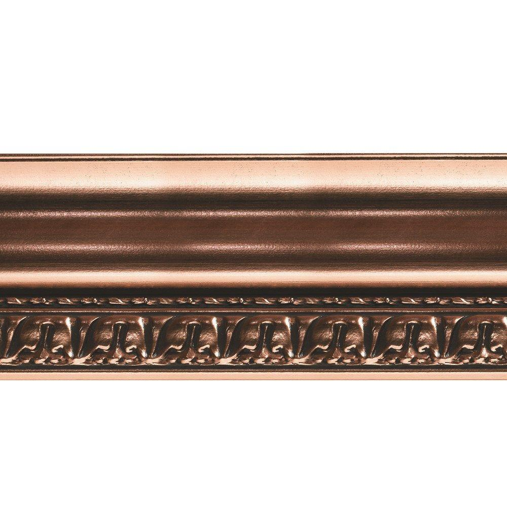 Fasade Grand Baroque 1 in. x 6 in. x 96 in. Wood Ceiling Crown Molding in Polished Copper