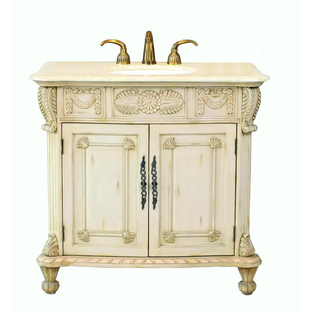 Virtu USA Casablanca 38 in. Single Basin Vanity in Antique Ivory with Natural Stone Vanity Top in Crema Marfil-DISCONTINUED