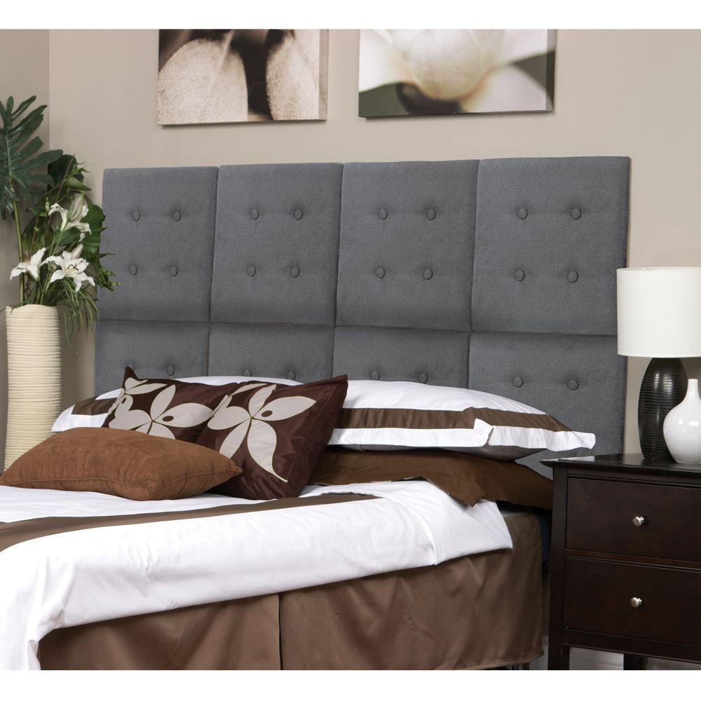 AZ Home and Gifts Next Luxe 18 in. x 18 in. 8 Wall Panel Headboard Set in Grey Faux Suede