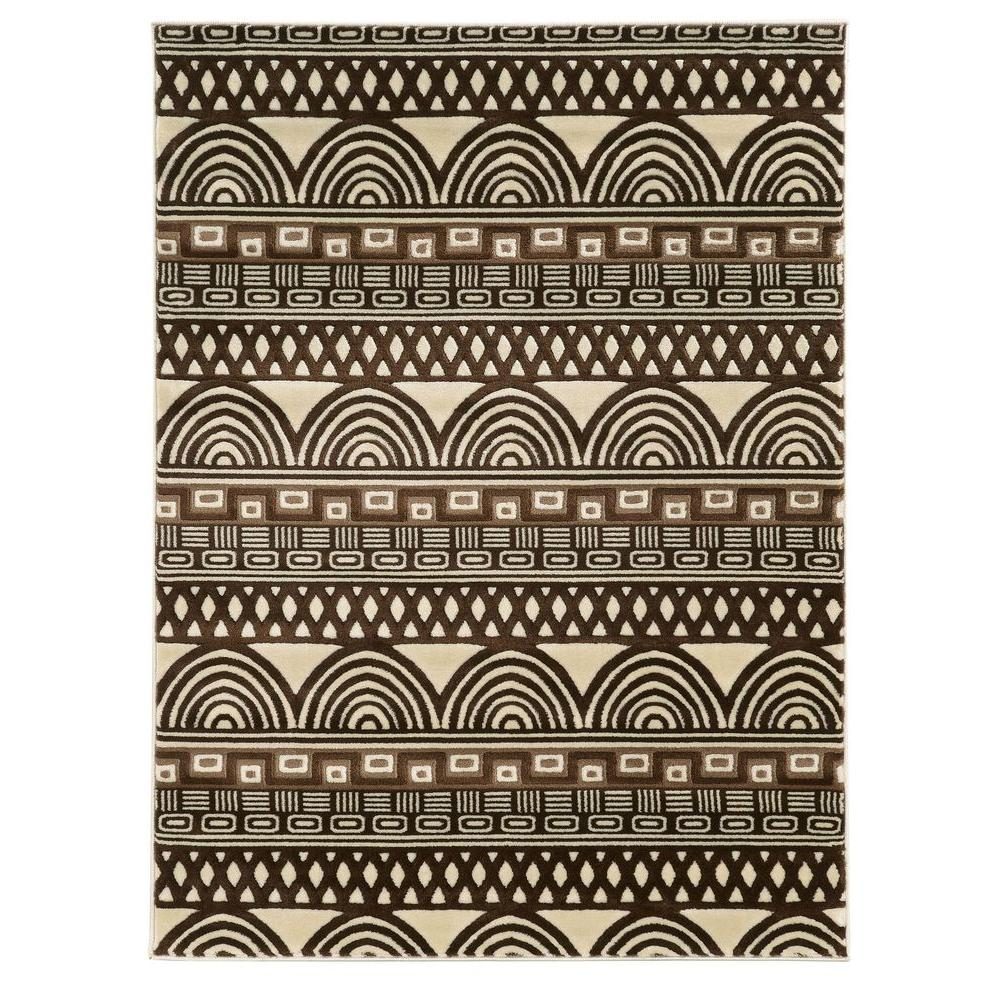 Linon Home Decor Roma Collection Lima Ivory and Chocolate 8 ft.