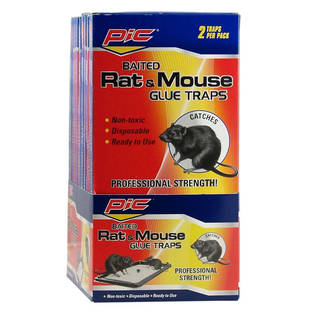 PIC Baited Rat and Mice Glue Traps (24-Pack)