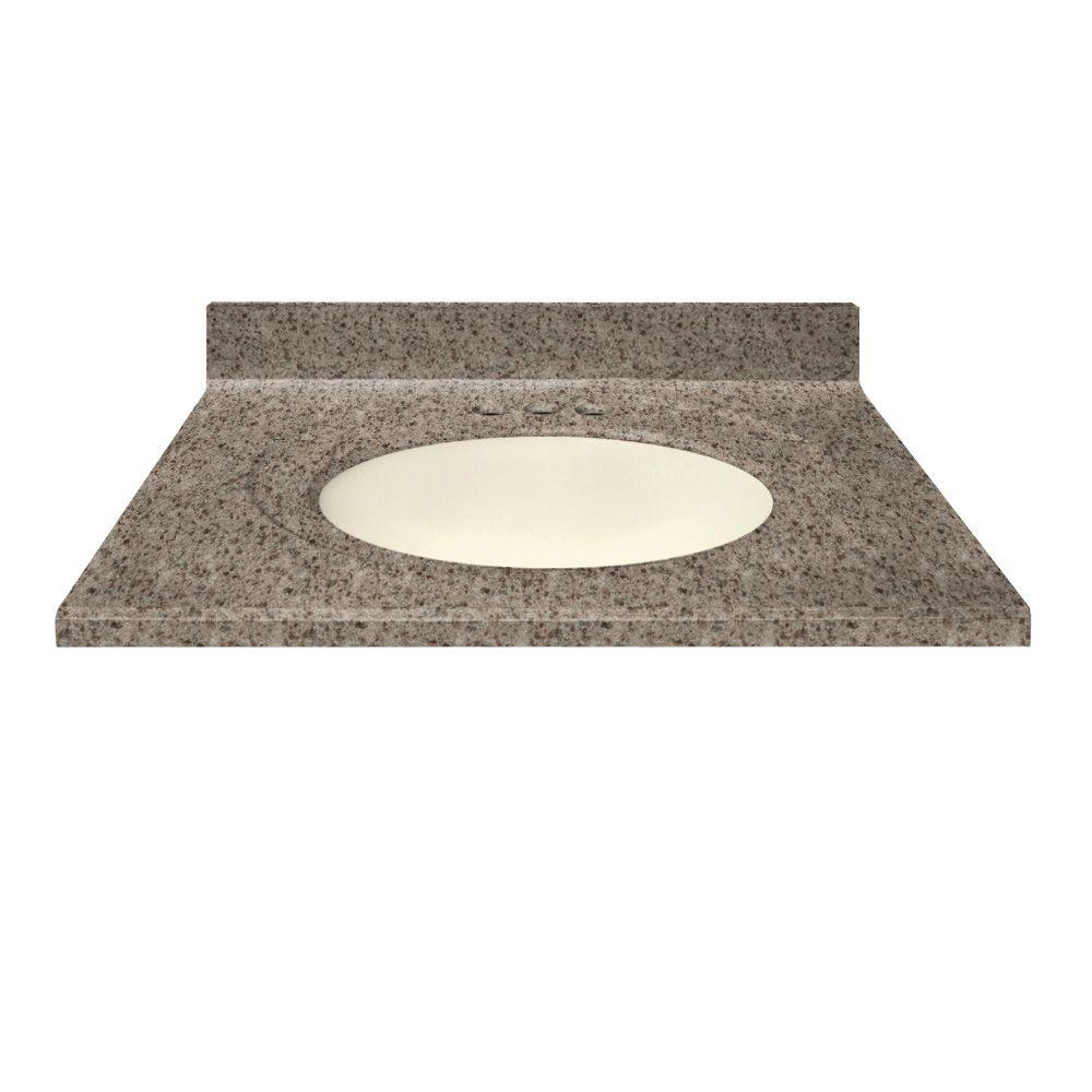 US Marble 31 in. Cultured Granite Vanity Top in Mountain Color with Integral Backsplash and Biscuit Bowl