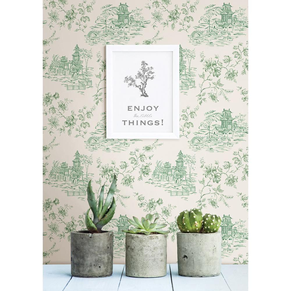56 sq. ft. Laure Green Toile Wallpaper